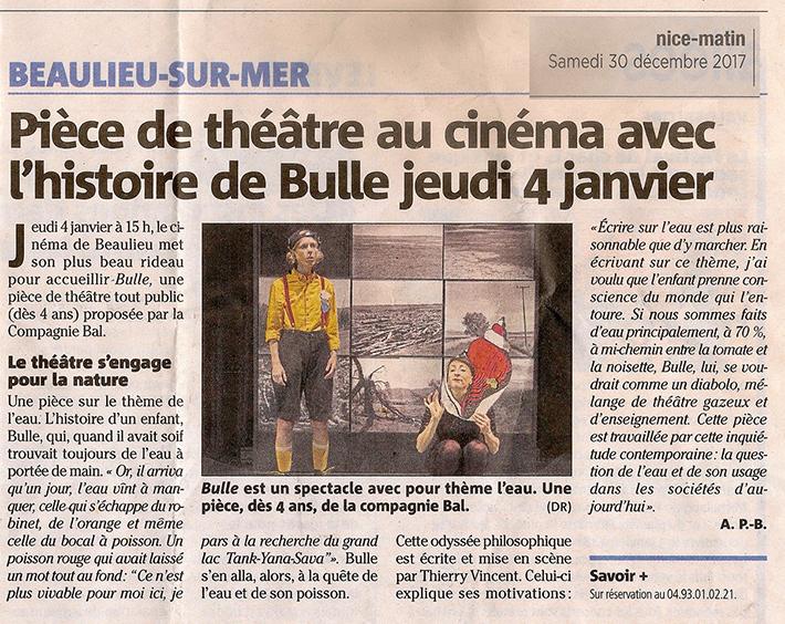 Nice Matin – Pièce de théâtre au cinéma avec l'histoire de Bulle