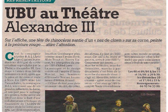 Le Cannois — UBU au Théâtre Alexandre III