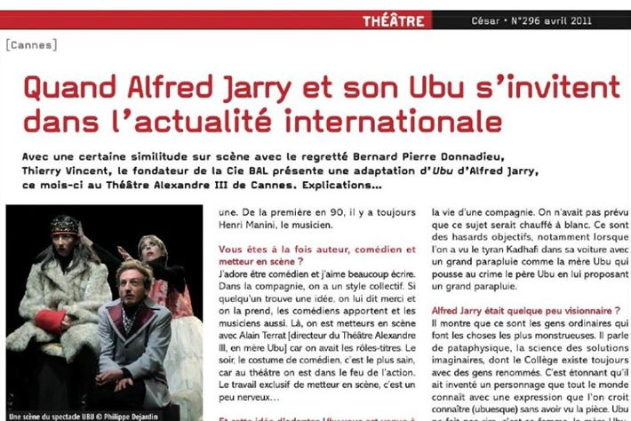 César — Quand Alfred Jarry et son Ubu s'invitent dans l'actualité internationale