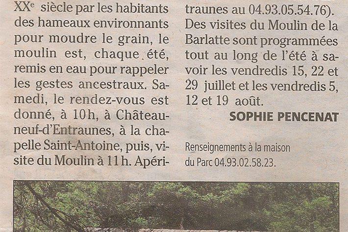 Nice Matin – Samedi c'est la fête du Moulin de la Barlatte