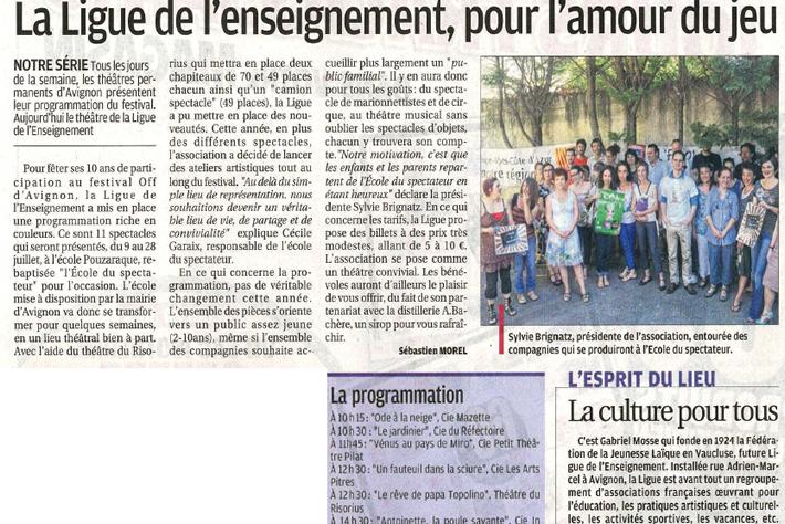 La Marseillaise – Le festival OFF des théâtres avignonnais